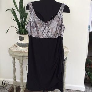 Gorgeous polyester/spandex shirred side dress